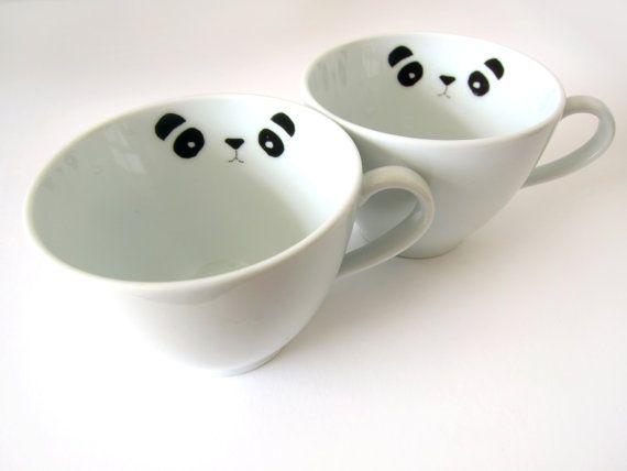 2 porcelain stickers PANDA by nuukk
