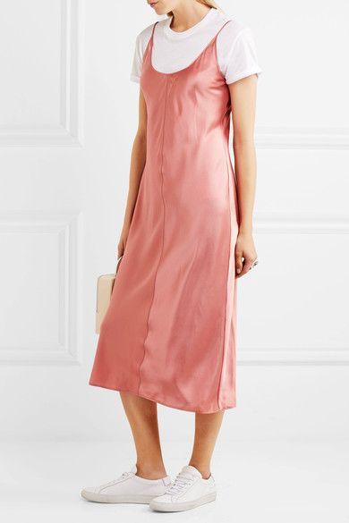 T by Alexander Wang - Embroidered Silk-satin Dress - Peach