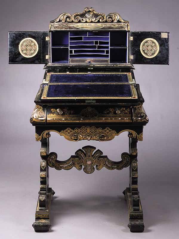 .A Rare English Victorian Papier Mache, Mother-of-Pearl and Paint-Decorated Lady's Writing Cabinet/Desk , mid-19th c., in the manner of Jennens and Bettridge, inliad and painted with Gothic castles and landscapes, fitted interior with cobalt velvet and paper lining, lower drawers fitted for sewing, on scroll trestle base, in an excellent state of preservation, height 47 in., width 21 in., depth 21 in