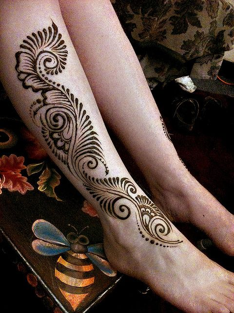 I'd take out the dots at the bottom and add the feathering to frame the base of the foot, but overall a lovely design for a henna tattoo