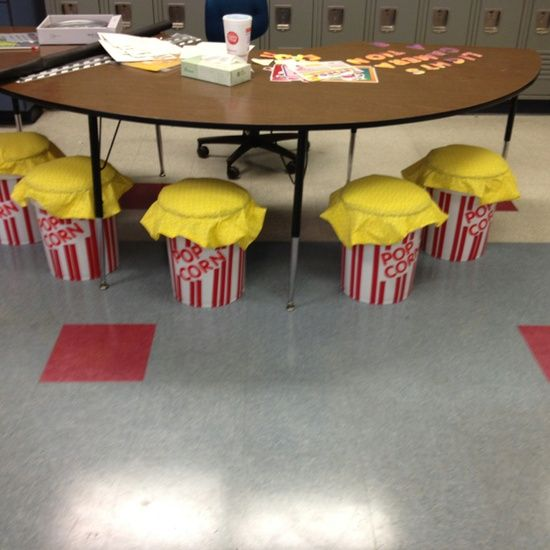 movie themed classrooms | Movie Themed Classroom / Popcorn inspired bucket seats for my teacher …