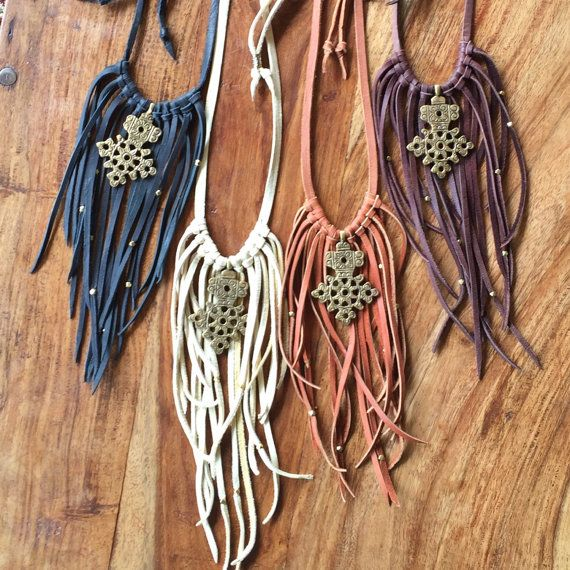 Boho Leather Fringe Choker Bib Tribal Statement Necklace with Ethiopian African Cross and Beads