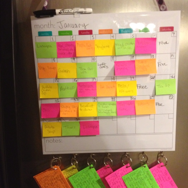 Weekly Calendar Sticky Notes : The best monthly menu planner ideas on pinterest