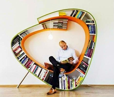 Unique and Modern Bookshelf with Comfortable Built in Chair and Decorative Lighting Design Ideas