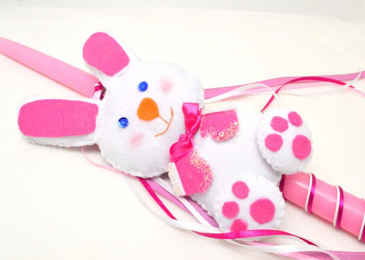 Greek Easter Candle . Felt Bunny Lampada . Easter Lampada. Handmade Felt Bunny Candle . Bunny Toy Lampada . Bunny Easter Candle .  Λαμπάδα by FourSeasonsCreations on Etsy