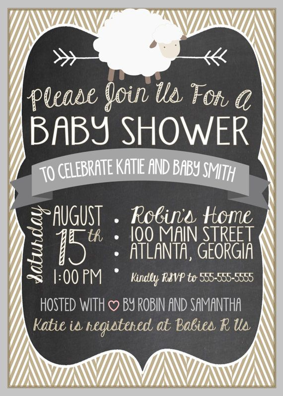 Little Lamb Baby Shower Invitation Little by LibertyAndLilacPaper