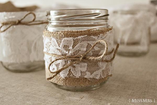 La boda de X + D: Tarros de vidrio decorados por nosotros mismos