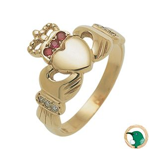 Our 18ct yellow gold Claddagh ring featuring three 1.5mm rubies set in the crown and a total of six 0.06ct diamonds (TDW .06ct) in the sleeves (x3 diamonds in each sleeve).