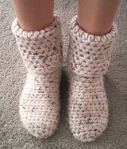 Crocheted slipper boots!