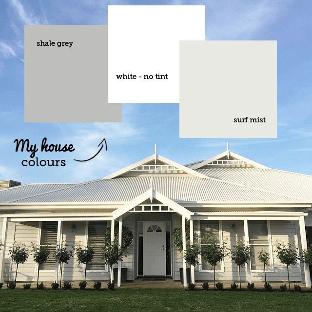 Paint colour scheme used by talented blogger Katrina, from Katrina Lee Chambers blog. Katrina has used Colourbond Shale Grey in a Taubmans paint combined with a colour bond Surf Mist roof. Her white trim is just plain white paint with no tint. If you need your paint to have a name use Dulux Vivid White as that is really white with no tint.