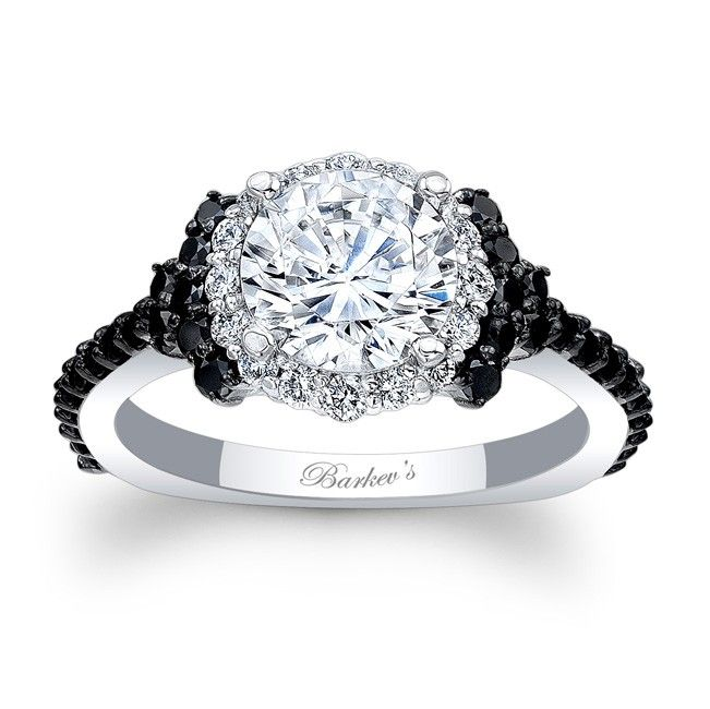 Black Diamond Engagement Ring - 7979LBKW - This unique white gold black and white diamond halo engagement ring features a prong set round diamond center, encircled with diamonds and embellished with shared prong set black diamonds on the shoulders and running down the dainty shank for a look of sheer elegance.  Also available in rose, yellow gold, 18k and Platinum.
