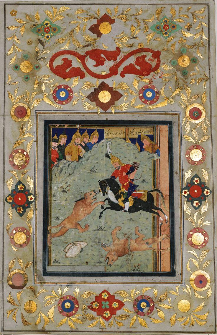 A LEAF FROM THE NASIR AL-DIN SHAH ALBUM: ISFANDIYAR KILLING THE LIONS, PERSIA, SAFAVID, 16TH CENTURY, THE ALBUM PAGE QAJAR, CIRCA 1888