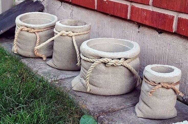 DIY Burlap Bag Shaped Concrete Planters