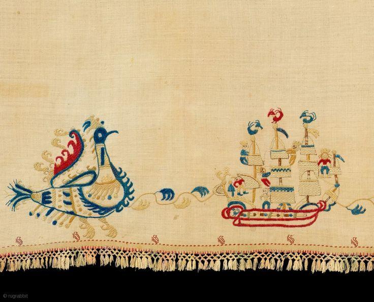 Border Panel of Wedding Bed Sheet, Skyros