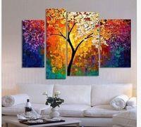 Pittura a olio dipinta a mano spatola dipinti per la parete del soggiorno grande tela art cheap abstract tree multi pannello 4 pezzi