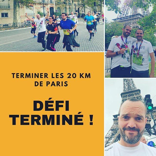 ▶︎ DÉFI : Terminer le 20 km de Paris ▶︎ AVANCEMENT : TERMINÉ ! ▶︎ DATE : 8 octobre 2017 - Voilà, j'ai réussi ce défi, quel kiff ! - Je rappelle que cela fait 16 ans que je n'ai pas fait de sport. - J'ai une activité professionnelle qui fait que je suis assis de longues heures derrière un ordinateur. - Début septembre (5 semaines avant la course) j'ai commencé à m'entraîner tout seul avec des moments très compliqués physiquement. - J'ai ensuite adhéré à un club qui m'a permis de courir…