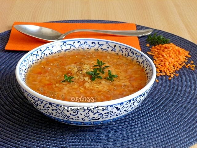 Zuppa di lenticchie rosse, velocissima - red lentil soup