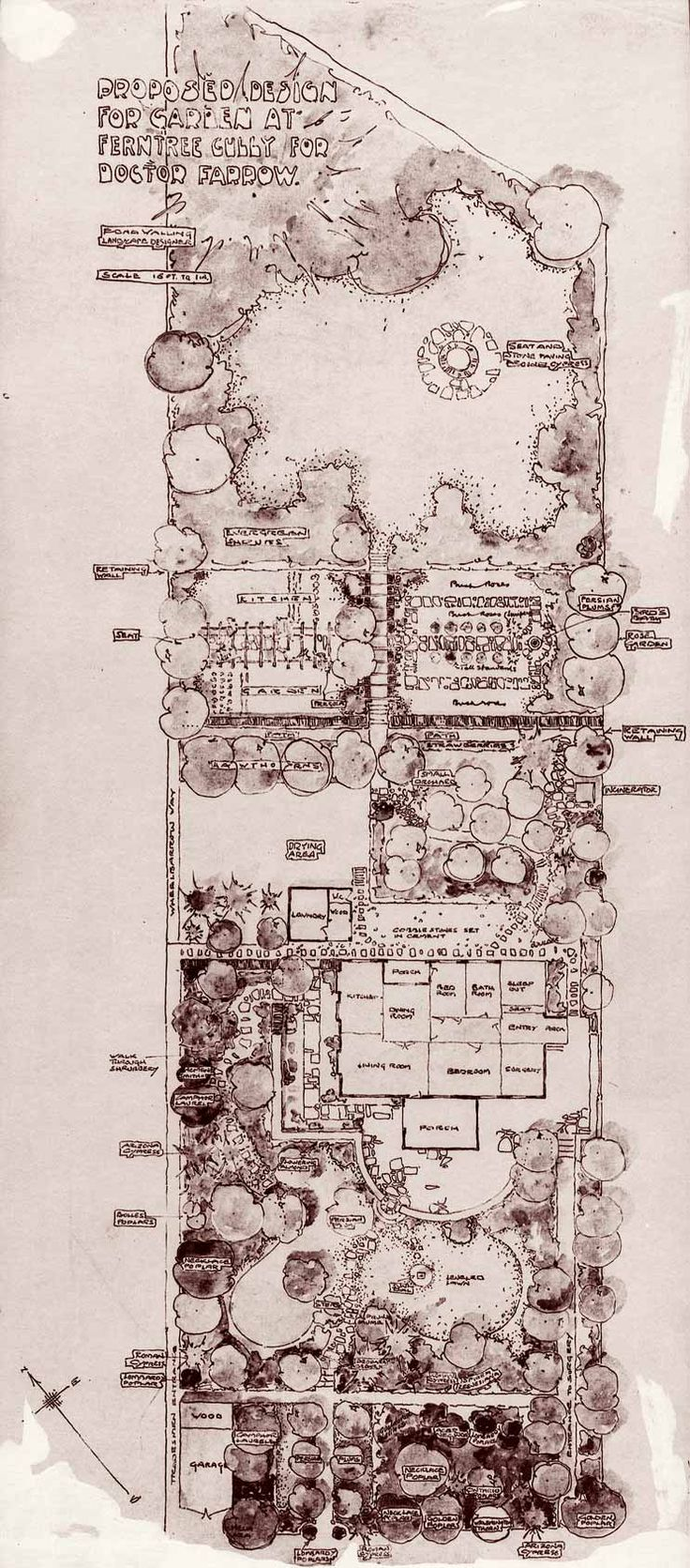 Traditional plan with some beautifully designed elements. Love the quality of the hand drafting.