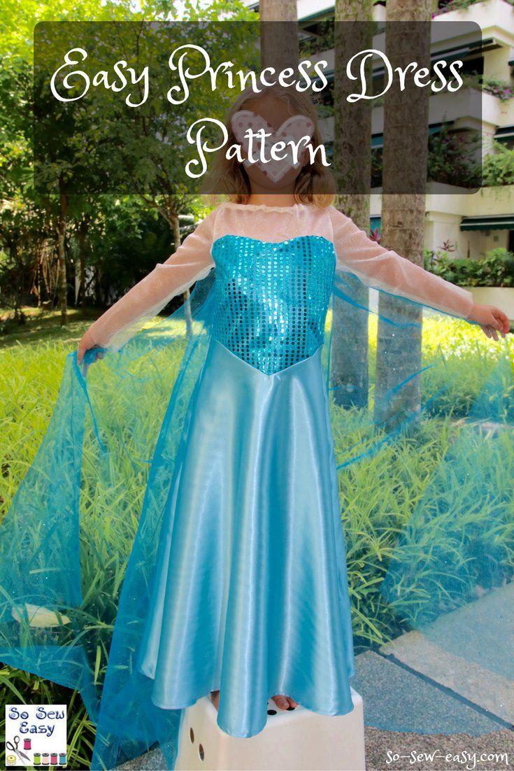 Easy to make Princess dress, free pattern and tutorial. Sizes 3 to 8 years old.