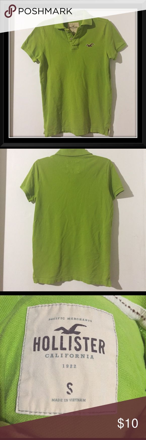 Men's Lime Green Hollister Polo Men's lime green collared polo from Hollister. Size small. Slightly used, wear on the collar, but other than that in good condition, it even still has the spare buttons attached on the inside. Made of 100% cotton. Hollister Shirts Polos