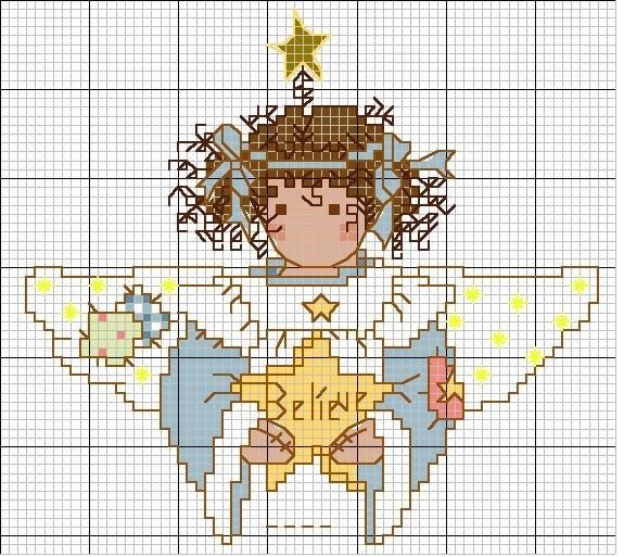 Cross-stitch Christmas Angel ~ Believe  ... no color chart available, just use the pattern chart as your color guide.. or choose your own colors... Schema punto croce Angioletto