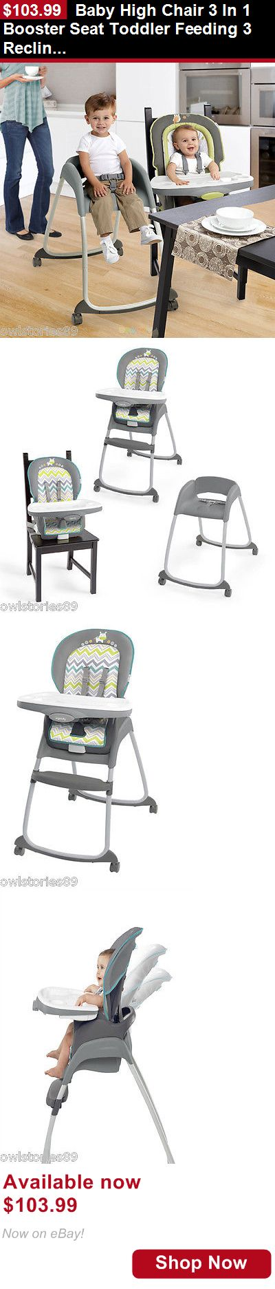 Baby High Chairs: Baby High Chair 3 In 1 Booster Seat Toddler Feeding 3 Recline Positions Kid Safe BUY IT NOW ONLY: $103.99