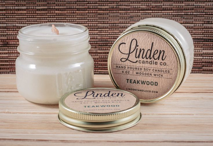 TEAKWOOD scented // 4oz mason jar soy candle//Hand Poured and Handmade in California.All Natural,Eco Friendly, Luxury candle by LindenCandleCompany on Etsy