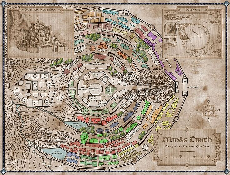 map of Minas Tirith from the Lord of the Rings by JRR Tolkien