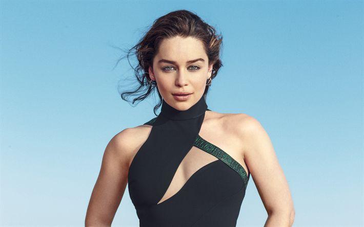 Télécharger fonds d'écran Emilia Clarke, actrice Britannique, portrait, robe noire, photoshoot, maquillage, sourire