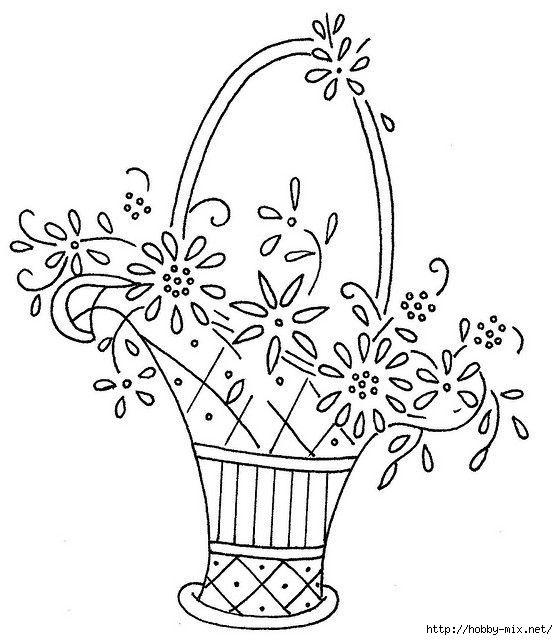 Картинки корзина с цветами нарисованные, анимация
