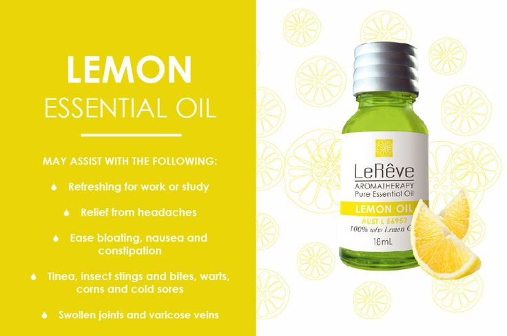 Lemon essential oil may assist with the following: refreshing for work or study, relief from headaches, ease bloating, nausea and constipation, tines, insect stings and bites, warts, corns and cold sores, swollen joints and varicose veins. All Le Reve essential oils are listed on the Australian Register of Therapeutic Goods (ARTG). Available at http://www.lereve.com.au/aroma/Mix-Your-Own and http://www.aromatherapy.net.au/mix-your-own/?cat=pure-essential-oils