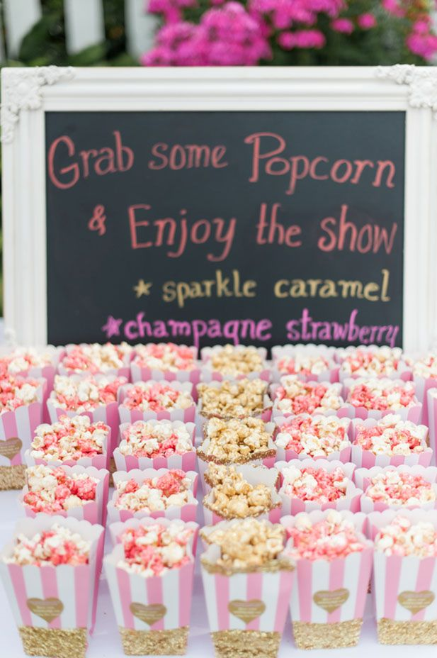Gourmet popcorn for guests to enjoy while they watch the ceremony. Cute idea!