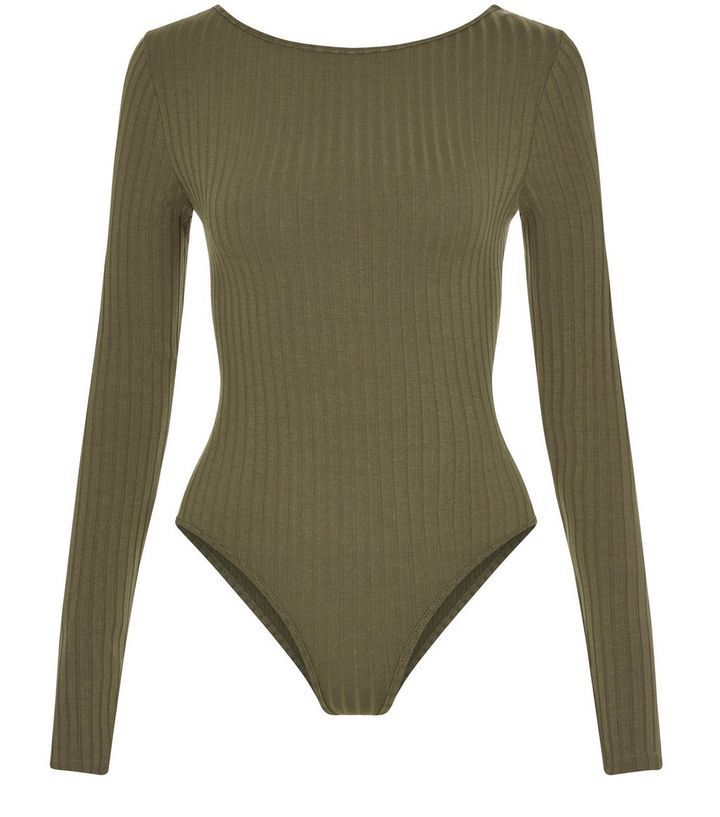Olive Green Ribbed Scoop Back Bodysuit | New Look
