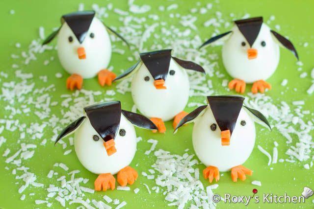 Des petits pingouins façon oeufs durs, adorable pour l'apéro ce week-end :) #kiri #recette #cute #food #Kids #enfant #apero