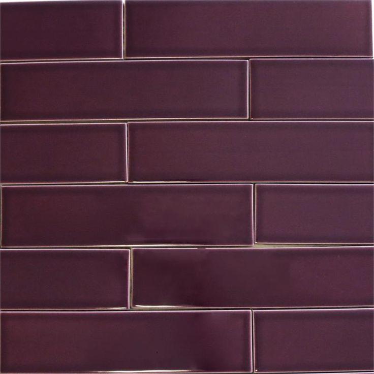 Ceramic Subway Tile For Kitchen Backsplash Or Bathroom Tile In Purple Color Plum