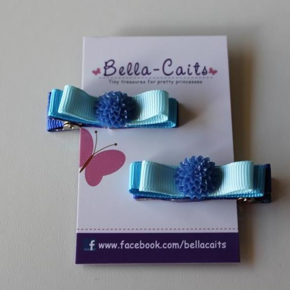 $3.50 Set of 2 Blue Flower Hair Clips by Bella-Caits on Handmade Australia