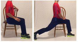 Take the time from work to extend your leg behind you.  It will tilt you pelvis just enough to give you relief.