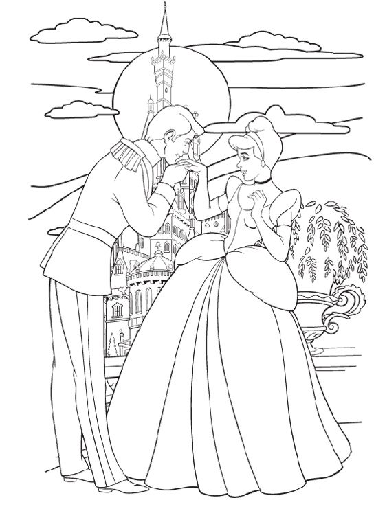 Cinderella Prince Kissing Hand Coloring Pages Bojanke