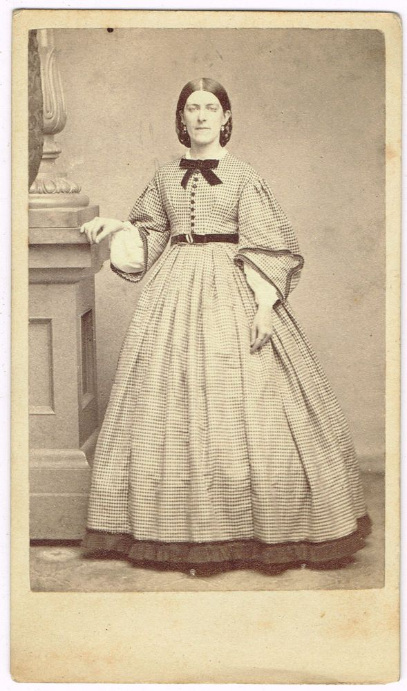 Young Lady Fancy Dress With Sleeves No Back Stamp Boston Mass 1860's CDV
