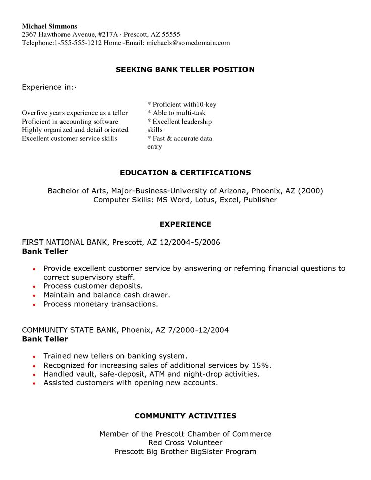 16 best jobs images on Pinterest Job resume, Resume and Resume - resume examples for bank teller position
