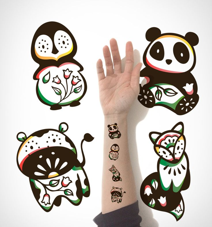 4 in 1 set - Kids Temporary Tattoo, Fox Penguin Panda Cow temporary Tattoo / Cute Animal Temporary Tattoo / Cute decorative Temporary Tattoo by EasternCloud on Etsy
