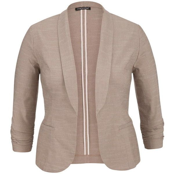 maurices Plus Size - Oatmeal Solid Open Front Blazer With Faux Pockets (64 AUD) ❤ liked on Polyvore featuring plus size fashion, plus size clothing, plus size outerwear, plus size jackets, plus size blazers, plus size, blazer, beige, brown jacket and beige jacket