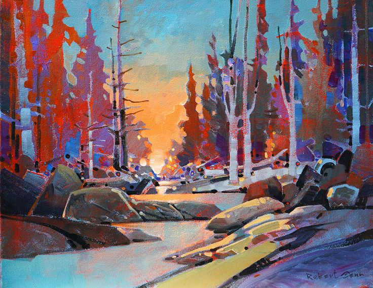 HONOURING A LIFETIME OF PAINTING_ ROBERT GENN (1936 — 2014)...An exhibition opening at 4 galleries across Canada on Saturday, October 25, 2014 with family in attendance. (image:  Warm Creek Passage -- acrylic on canvas 16 x 20 inches by Robert Genn)