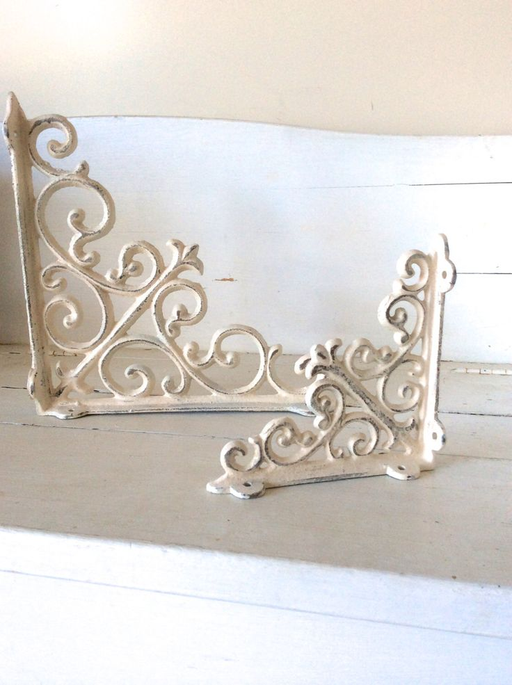 Shabby Chic, Iron Brackets, Iron Shelf Brackets, Shelf, Shelf Decor, Gray, Metal Brackets, Cottage Chic Decor, Elegant, Iron Shelf Bracket by honeywoodhome on Etsy https://www.etsy.com/listing/208515690/shabby-chic-iron-brackets-iron-shelf