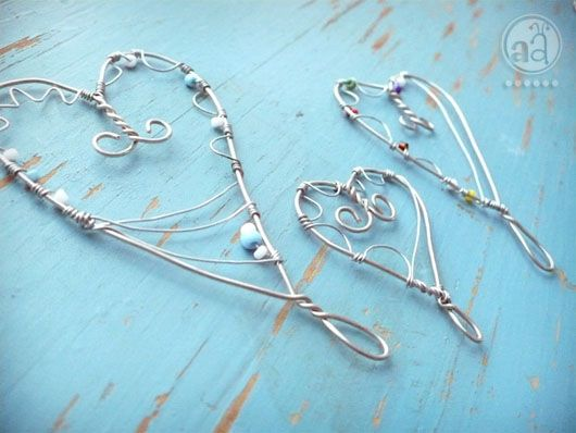 Wire Hearts- so simple and easy to make: Diy Ideas, Crafts Ideas, Wire Work, Diy Crafts, Jewelry Wire, Beads And Wire, Wire Hearts Grac, Wire Art, Artsy Ants