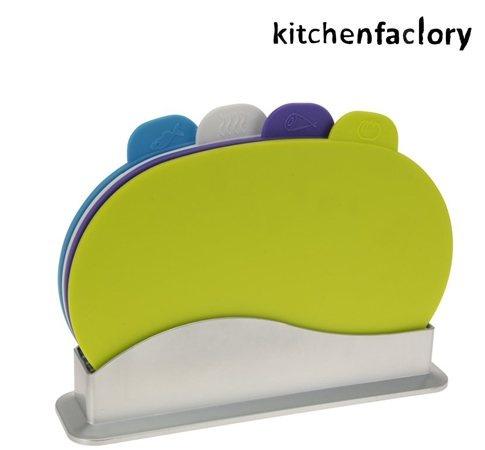 Stilige skjærebrett fra Kitchenfactorty. 4 stk i settet, for å skille mellom fisk, kjøtt, grønnsaker etc