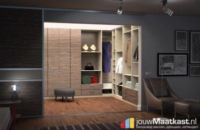Inloopkast naar wens en op maat ontwerpen en bestellen. Merano bruin decor met draaideuren schappen en lades.