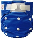 Happy Babes ROYAL BLUE One Size Nappy is a Modern Cloth Nappy (MCN) that can be worn from birth to toilet training. The One Size Nappy has plastic snaps on the front of the nappy allowing the rise of the nappy to be adjusted as your baby grows from birth to toilet training. Pocket Nappies consist of a waterproof outer which is usually a polyurethane laminated polyester and a cotton micofibre lining that is extremely soft against the baby's skin.