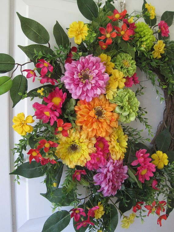 Spring Wreath, Summer Wreath, Mothers Day Wreath, Bright Cheerful Colorful Zinnias, Four Season Wreath, Front Door Wreath, Home Décor, Garden Wreath, Grapevine Wreath, Handmade Wreath, Custom Wreath. Here we have a beautiful front door wreath, so pretty, bright, cheerful and colorful, makes a perfect Mothers day gift too, featuring a grapevine wreath base filled with gorgeous pink, green, yellow and orange jumbo zinnias with colorful wildflowers and mixed greenery, ferns and long wispy…
