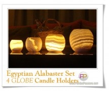 Egyptian Alabaster Candle Holders 4 GLOBE. Décoration Égyptienne pour la maison en Albâtre. Alabastro Egiziano per la casa Regalo da Matrimonio o per eventi speciali. Ideal Wedding Anniversary Gift Set Exotic Home or Garden Decor - FaridasPassions.com